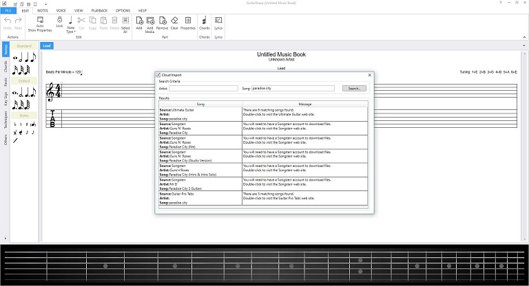 Easily search for on-line music files to import into GuitarSharp.