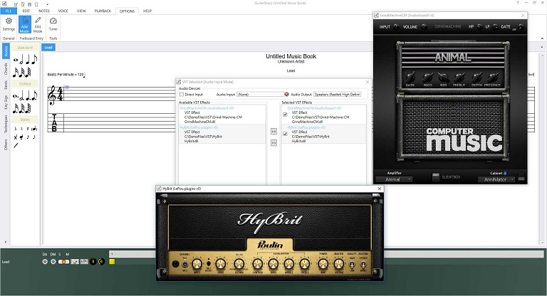 Add VST Effects to your guitar music in GuitarSharp.
