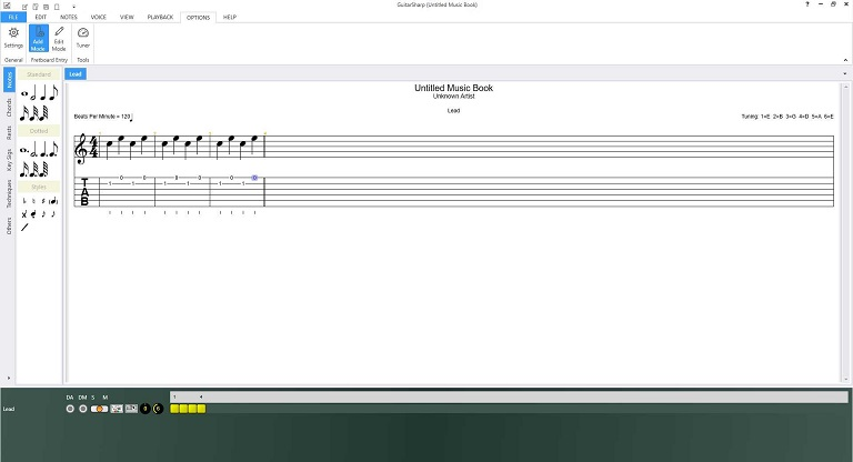Auto formatting of your music as you enter it by the guitar software.
